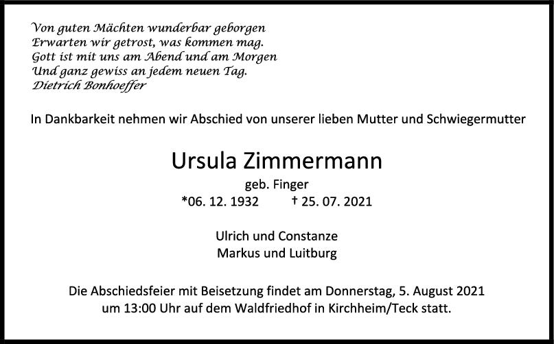 Trauer Ursula Zimmermann <br><p style=
