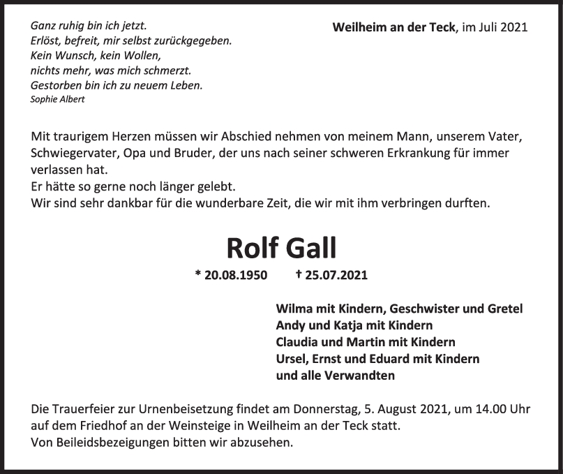Trauer Rolf Gall <br><p style=