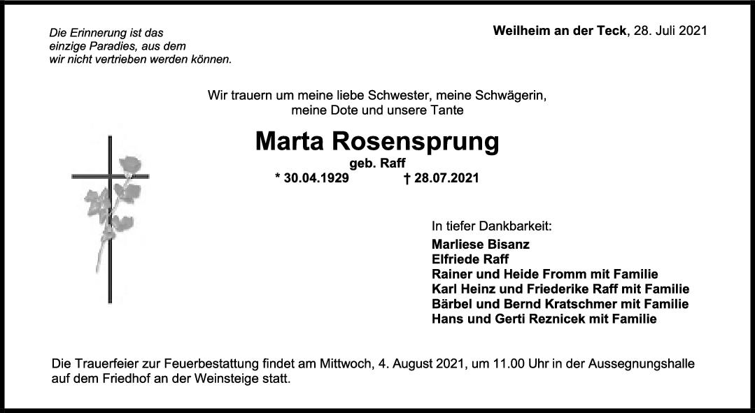 Trauer Marta Rosensprung <br><p style=