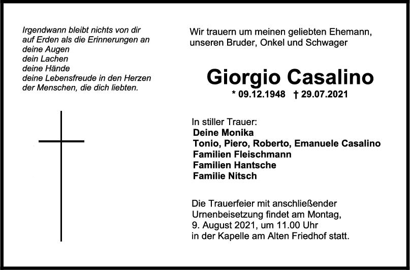 Trauer Giorgio Casalino <br><p style=