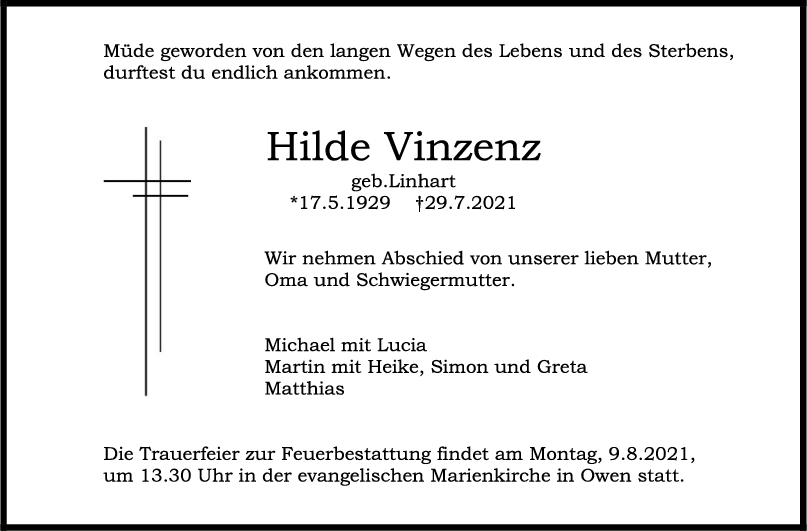 Trauer Hilde Vinzenz <br><p style=