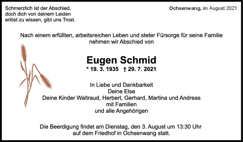 Trauer Eugen Schmid <br><p style=