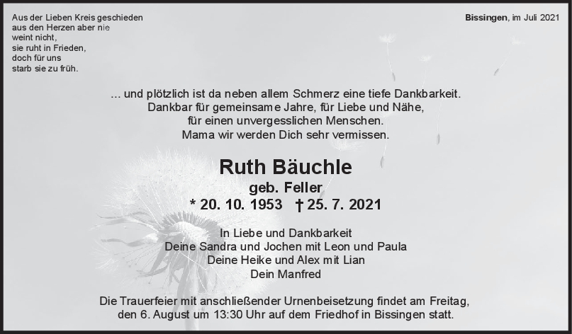 Trauer Ruth Bäuchle <br><p style=