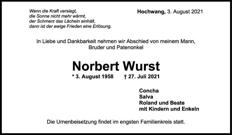 Trauer Norbert Wurst <br><p style=