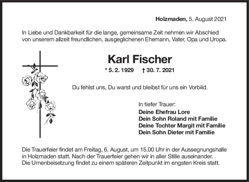 Trauer Karl Fischer <br><p style=