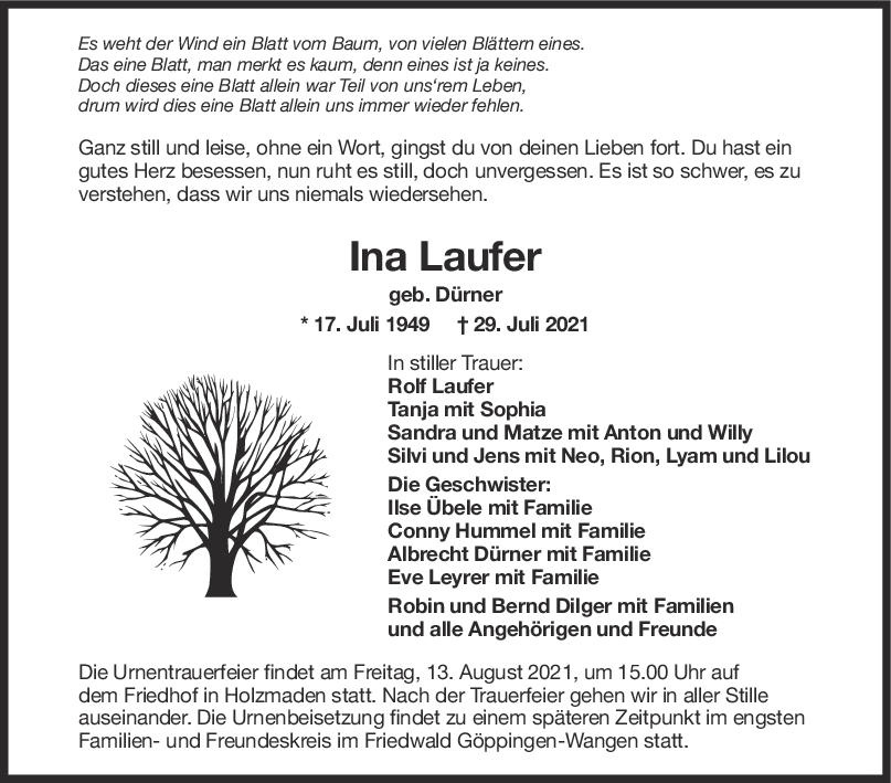 Trauer Ina Laufer <br><p style=