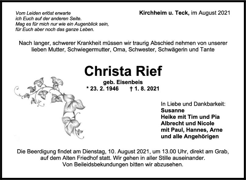 Trauer Christa Rief <br><p style=