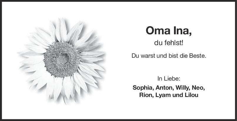 Trauer Oma Ina Laufer <br><p style=