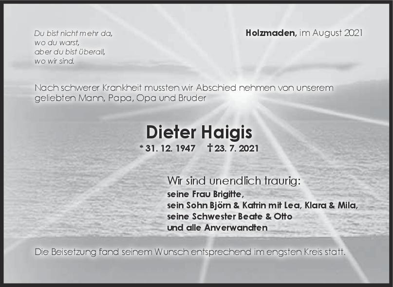 Trauer Dieter Haigis <br><p style=