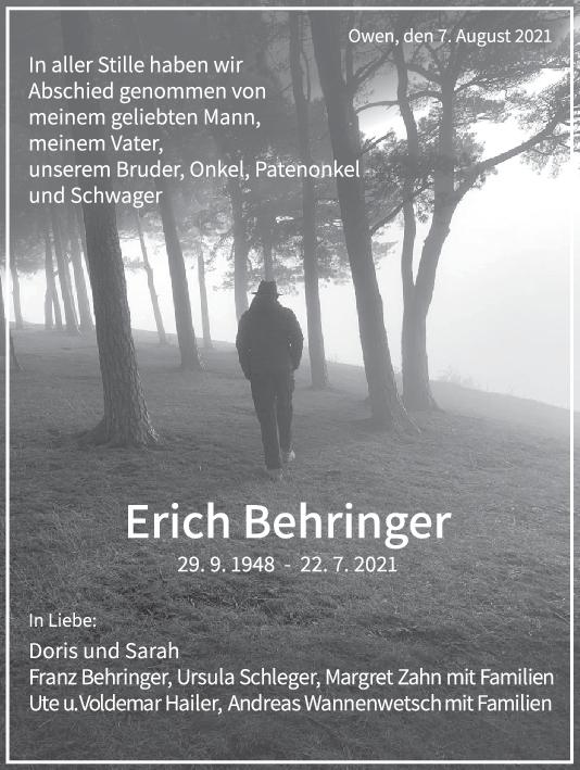 Trauer Erich Behringer <br><p style=
