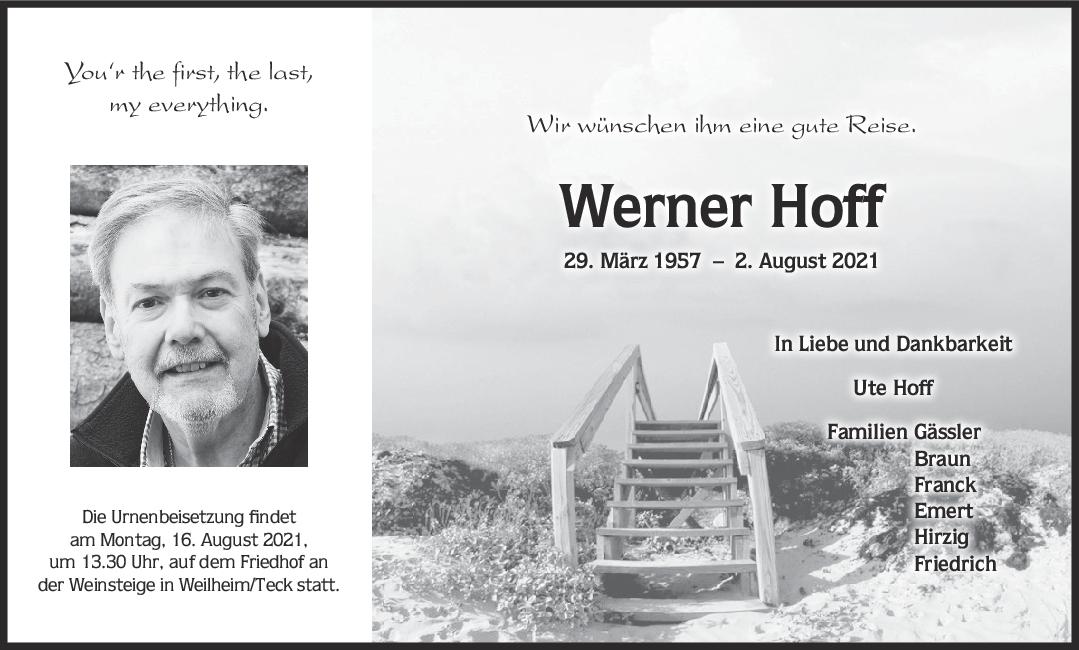 Trauer Werner Hoff <br><p style=