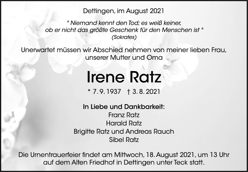 Trauer Irene Ratz <br><p style=