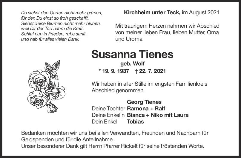 Trauer Susanna Tienes <br><p style=