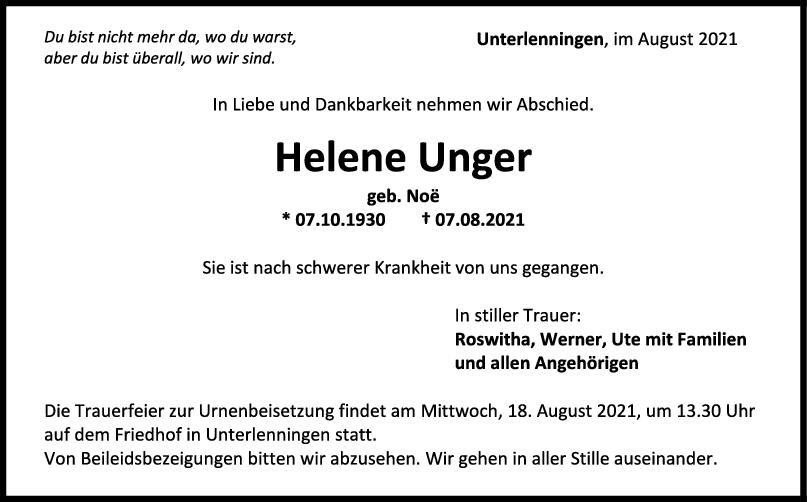 Trauer Helene Unger <br><p style=