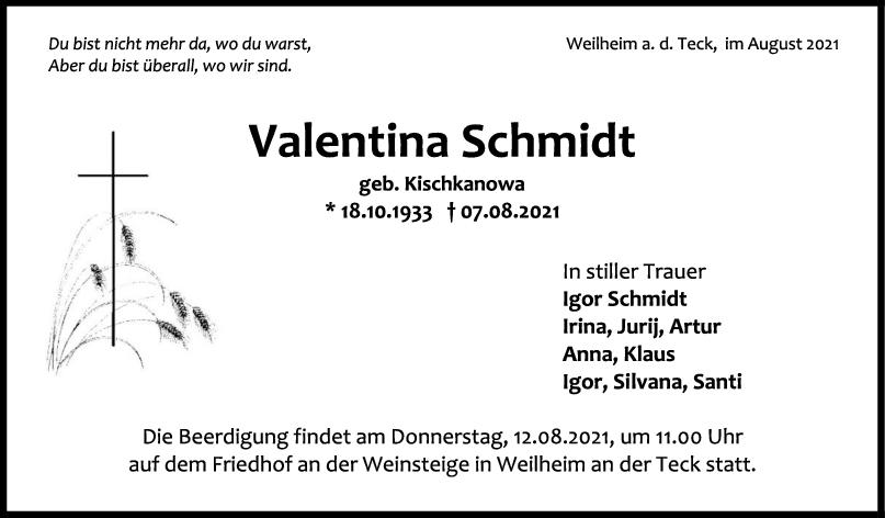 Trauer Valentina Schmidt <br><p style=
