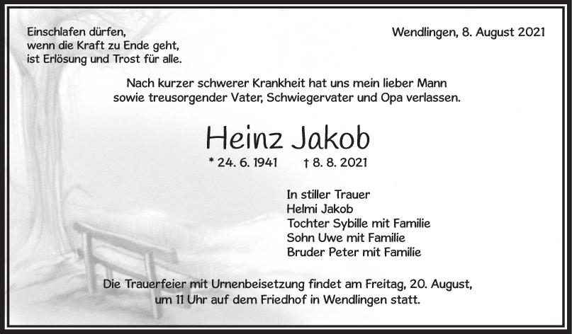 Trauer Heinz Jakob <br><p style=