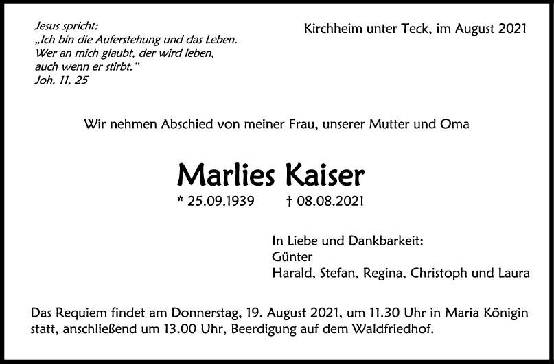 Trauer Marlies Kaiser <br><p style=