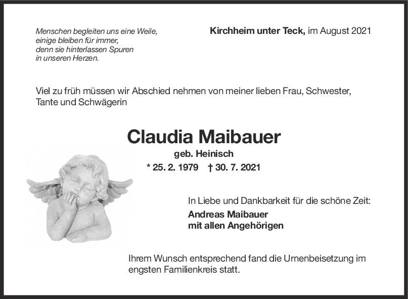 Trauer Claudia Maibauer <br><p style=