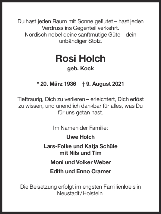 Trauer Rosi Holch <br><p style=