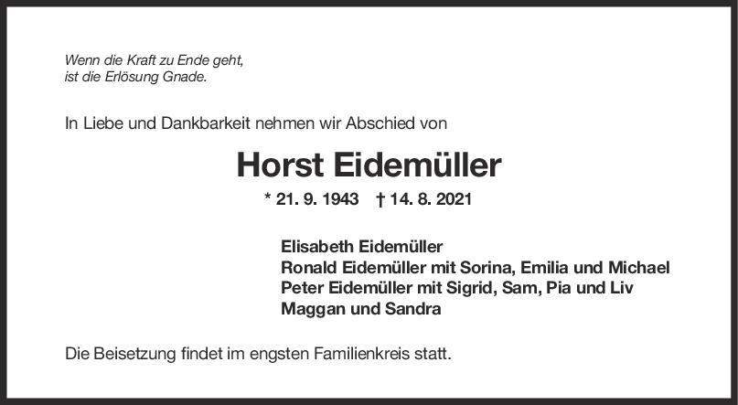 Trauer Horst Eidemüller <br><p style=
