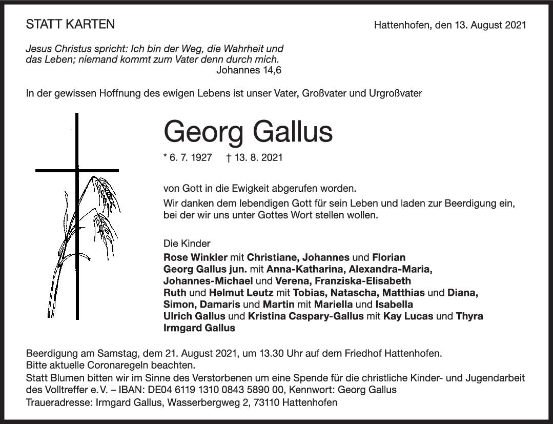 Trauer Gorg Gallus <br><p style=