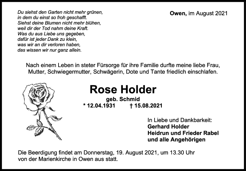 Trauer Rose Holder <br><p style=