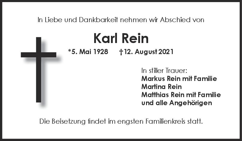 Trauer Karl Rein <br><p style=
