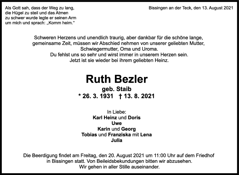 Trauer Ruth Bezler <br><p style=