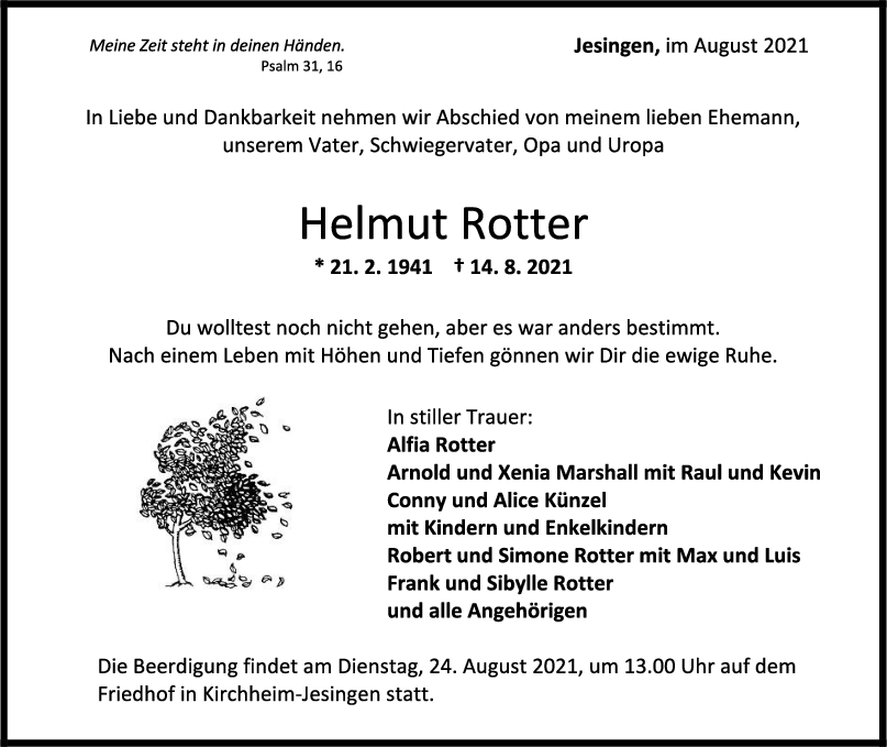 Trauer Helmut Rotter <br><p style=