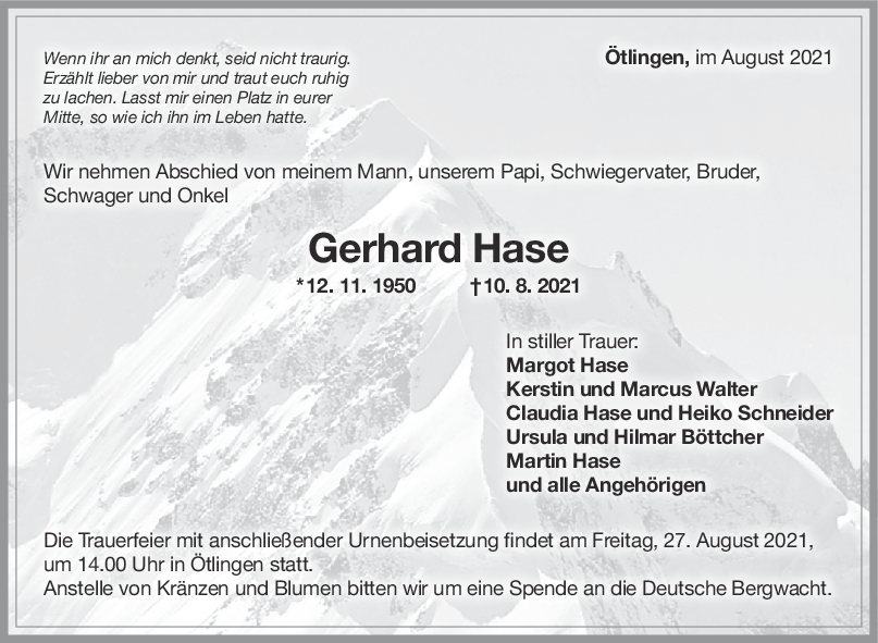 Trauer Gerhard Hase <br><p style=