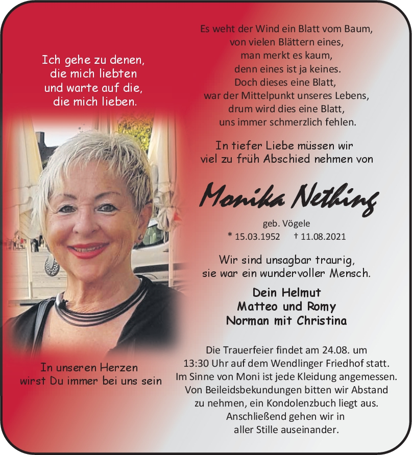 Trauer Monika Nething <br><p style=