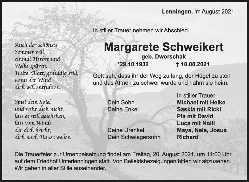 Trauer Margarete Schweikert <br><p style=