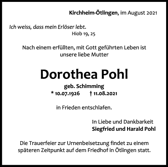 Trauer Dorothea Pohl <br><p style=