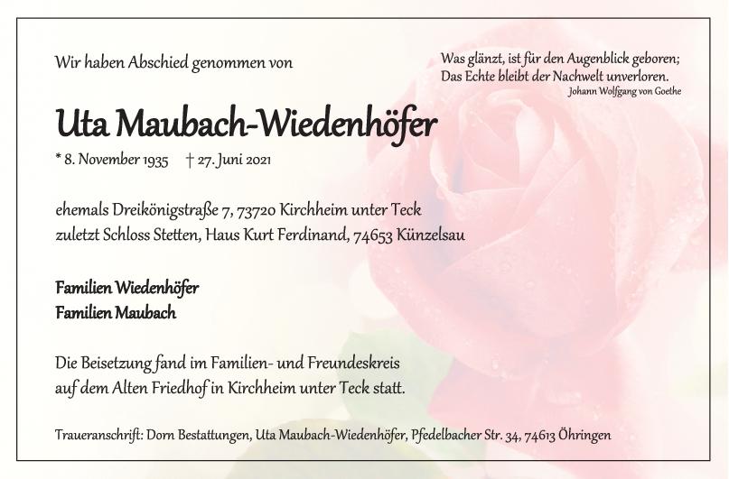 Trauer Uta Maubach-Wiedenhöfer <br><p style=