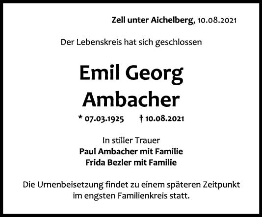 Trauer Emil Georg Ambacher <br><p style=