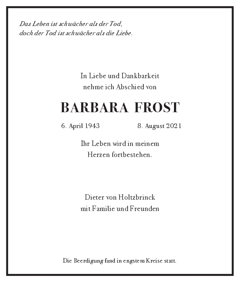 Trauer Barbara Frost <br><p style=