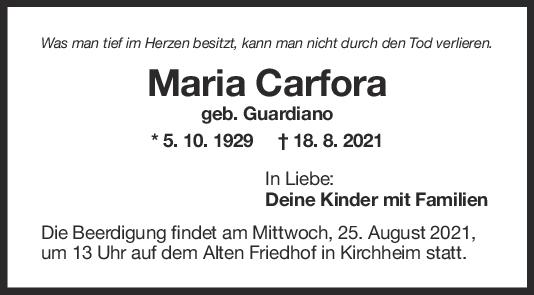 Trauer Maria Carfora <br><p style=