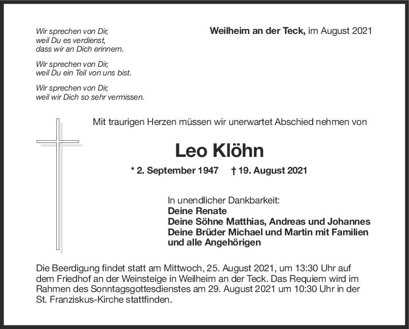 Trauer Leo Klöhn <br><p style=