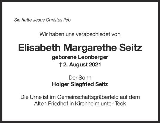 Trauer Elisabeth Margarethe Seitz <br><p style=
