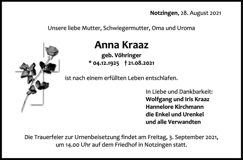Trauer Anna Kraaz <br><p style=