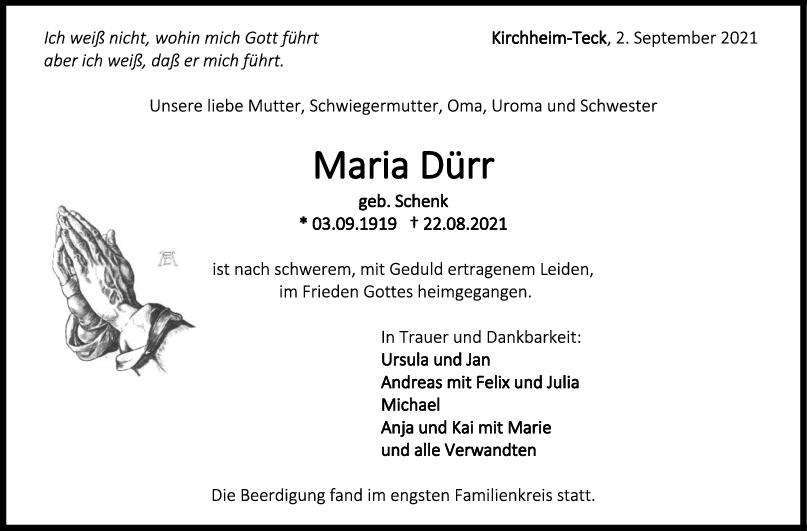 Trauer Maria Dürr <br><p style=