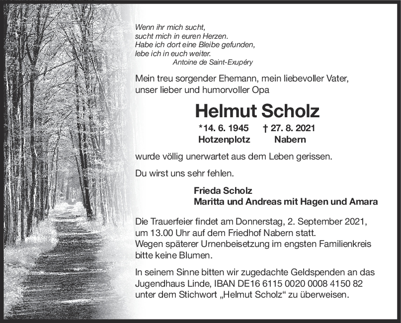 Trauer Helmut Scholz <br><p style=
