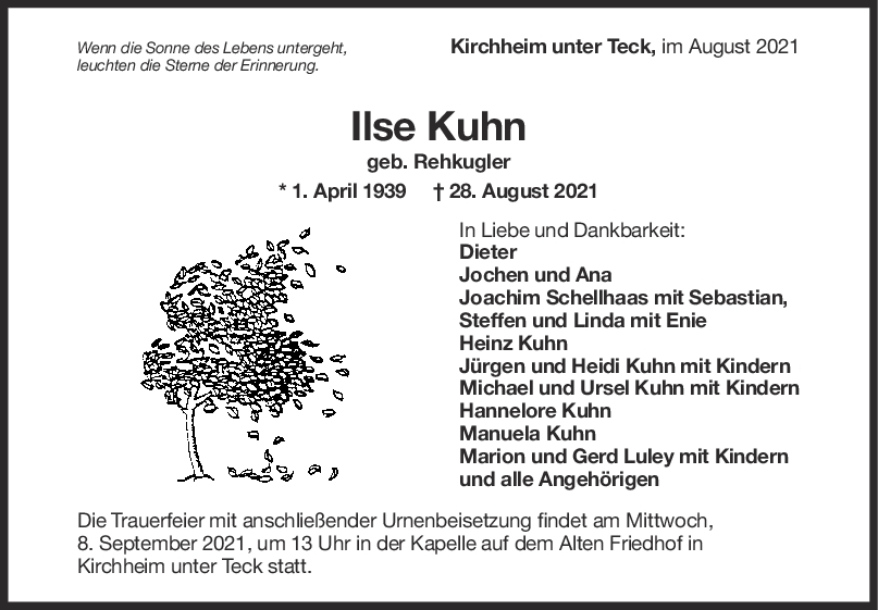 Trauer Ilse Kuhn <br><p style=