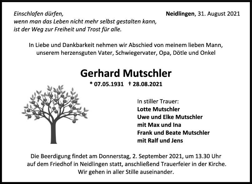 Trauer Gerhard Mutschler <br><p style=