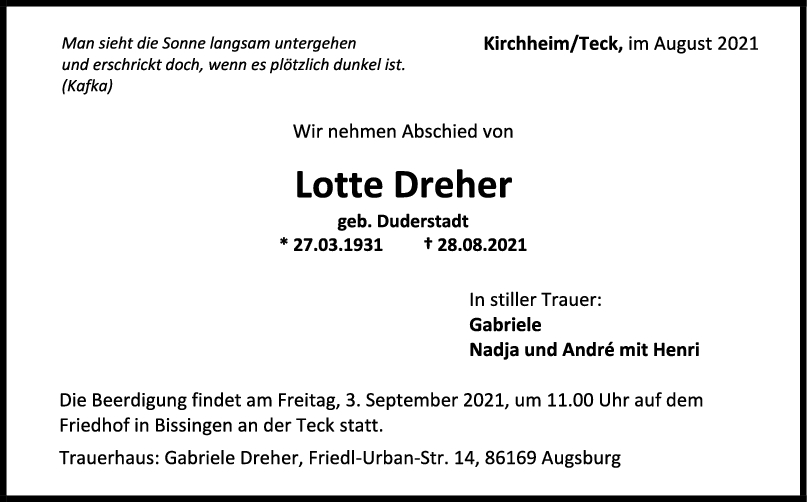 Trauer Lotte Dreher <br><p style=