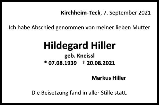 Trauer Hildegard Hiller <br><p style=