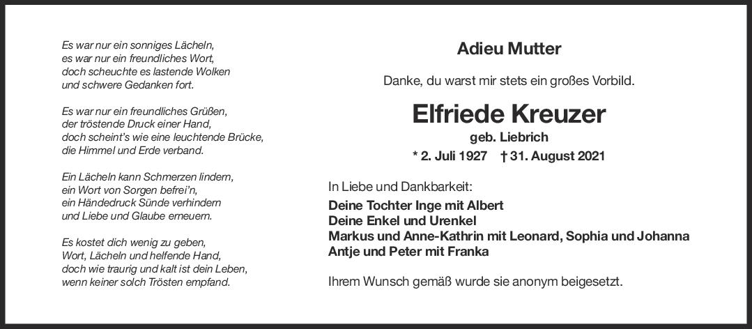 Trauer Elfriede Kreuzer <br><p style=