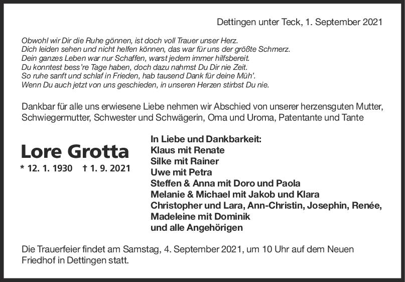 Trauer Lore Grotta <br><p style=