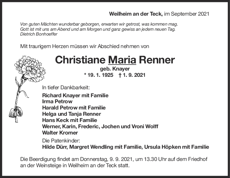 Trauer Christiane Maria Renner <br><p style=