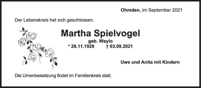 Trauer Martha Spielvogel <br><p style=